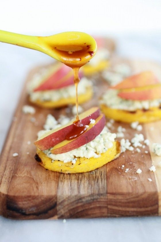 Peach and Gorgonzola Grilled Polenta Rounds with Chipotle Honey -2