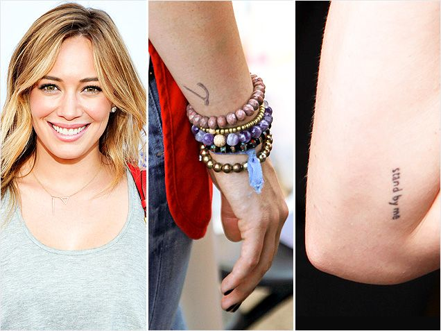 Celebrities with adorable tiny tattoos celebrity watch for Hilary duff tattoos
