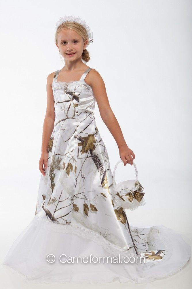 White Camo Flower Girl Dresses 114