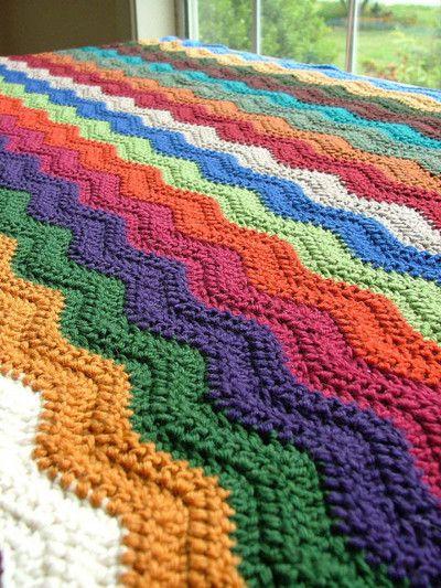 Crochet Ripple Blanket : crochet ripple blanket Tejido cobijas Pinterest