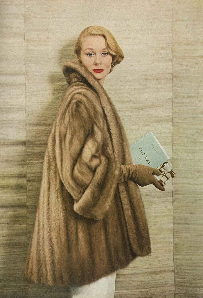 September Vogue 1952    Model is wearing Emba mutation mink in Topaze.