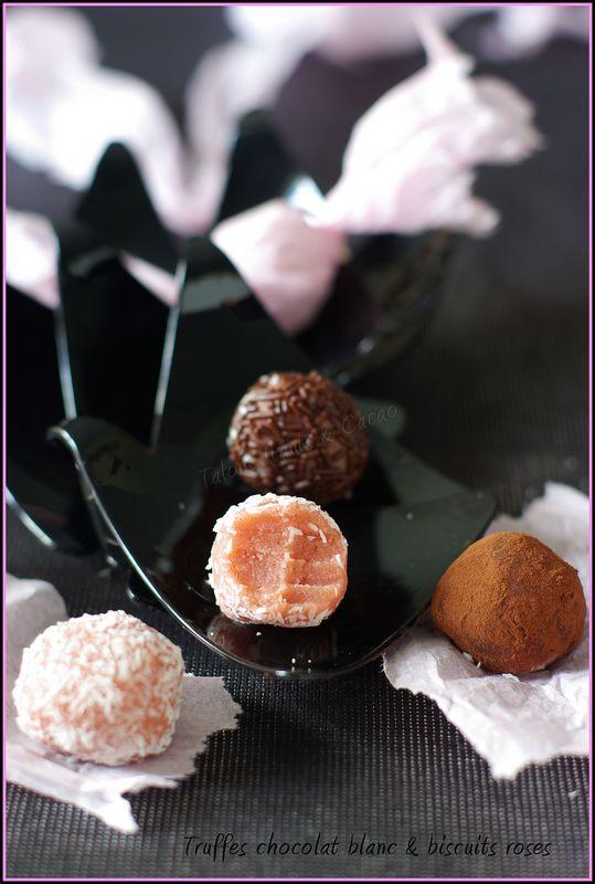 Truffes au chocolat blanc et biscuits roses de Reims - gourmandises ...