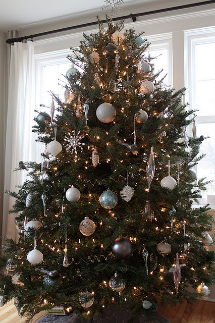 White Silver And Blue Christmas Tree Holidays Pinterest