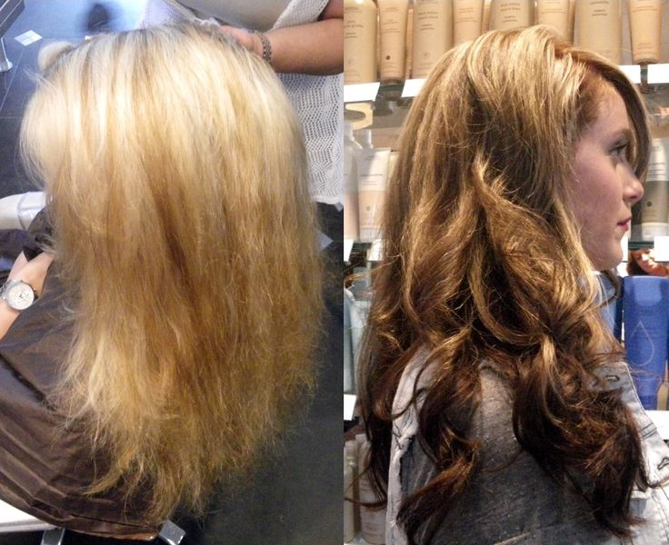 blonde bombshell to brunette beauty... love the partial highlights and ...