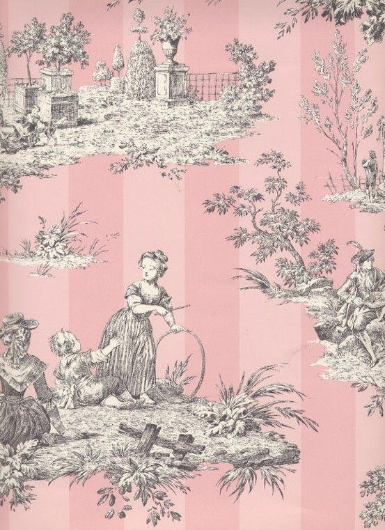pink toile wallpaper pink pink pink pinterest