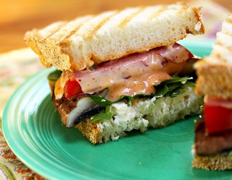 ... sandwich, a grilled portobello mushroom with tomato, lettuce and goat
