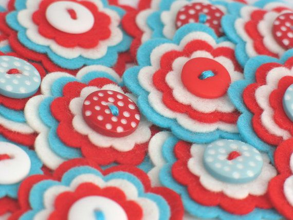 Stacked Felt Flowers With Button Centers by chocolatecupcake