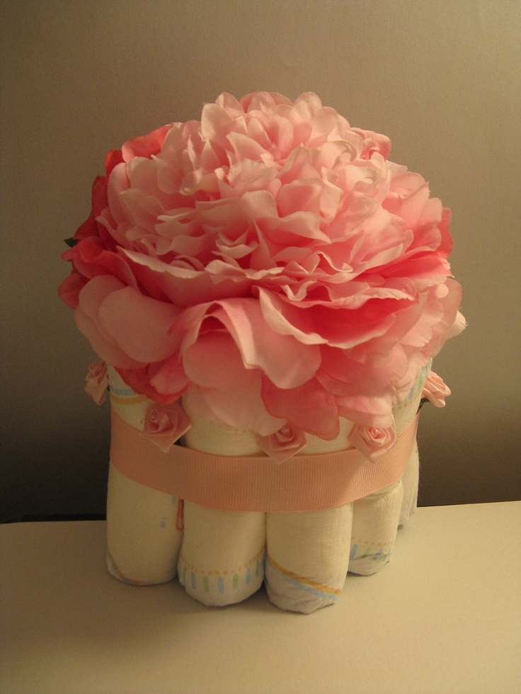 Pink bouquet diaper cake diy pinterest for Pink diaper bouquet