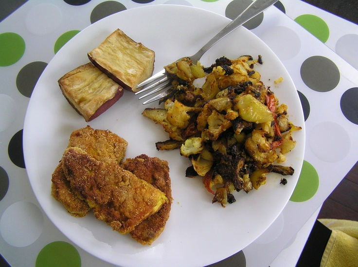 Sauteed Cod, Roasted white Sweet Potato, Roasted Cauliflower with ...