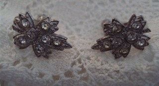 Vintage 1960 Estate Pave Rhinestones  Leaf Romantic Evening Date Earrings Paris Valentine  French Inspired. $10.50, via Etsy.
