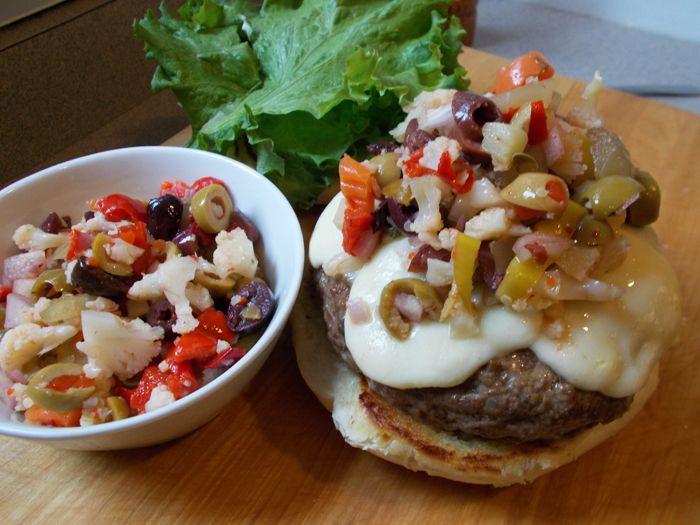 Muffaletta Burger Recipe - stuffed with salami and Mozzarella and ...