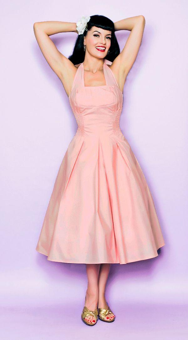 Unique Vintage- Flirty Pink Cotton Halter 50's Style Swing Dress - XS to 2X  [Item#8199-K02B]  $98.00
