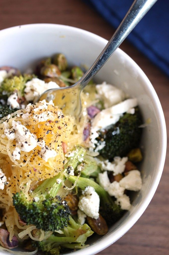 Spaghetti squash with roasted broccoli, goat cheese and pistachios