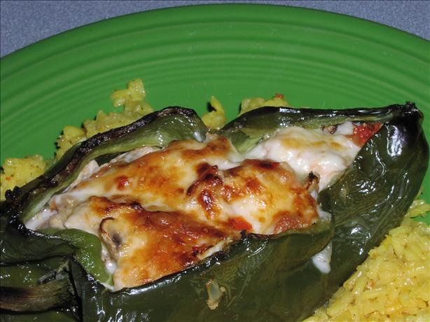 Chicken Stuffed Poblano Chiles from Food.com:   This is an attractive and tasty dish.  These are not your ordinary stuffed peppers.  Serve on top of saffron rice with a side salad for a spicy meal.
