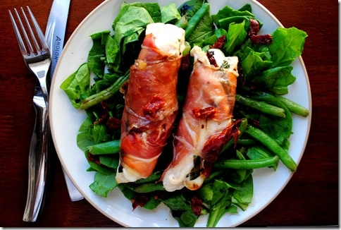 ... , Wrapped & Rolled! - Prosciutto wrapped Caprese Chicken Fingers