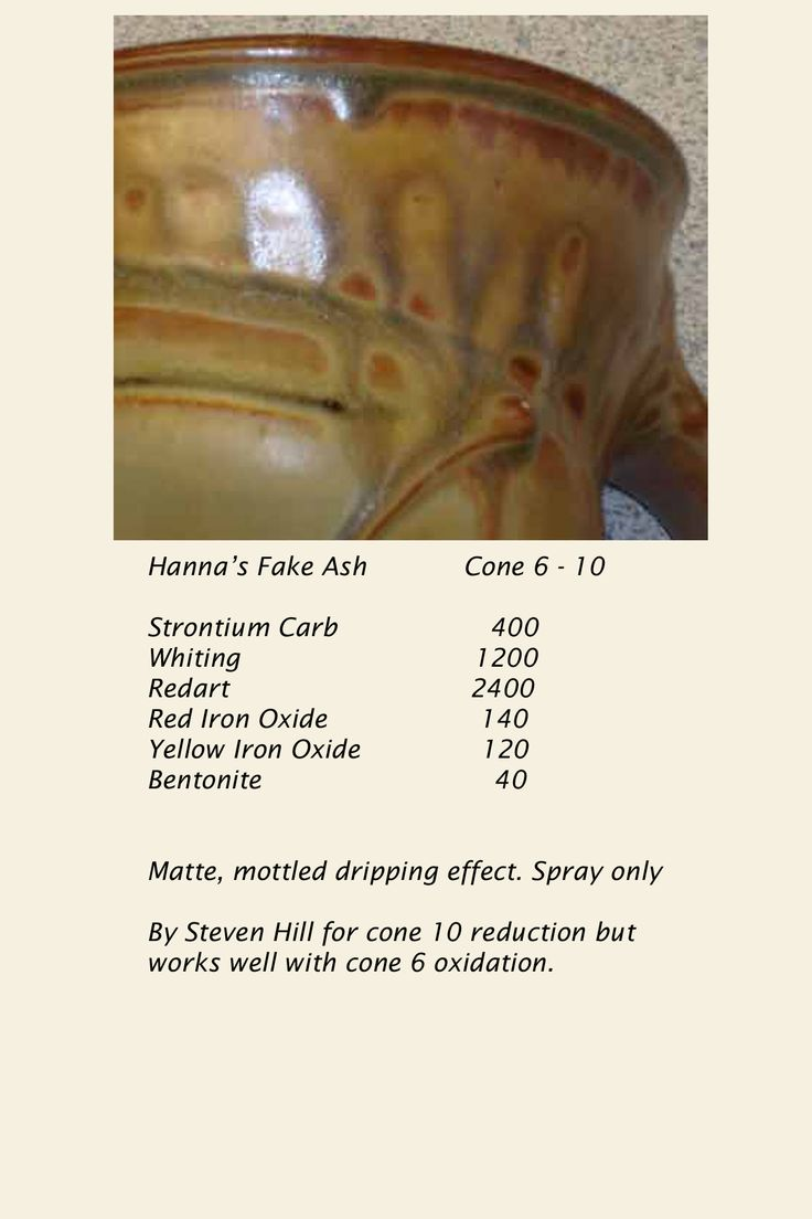 Hanna's Fake Ash Glaze, cone 6 oxidation | Ceramics | Pinterest