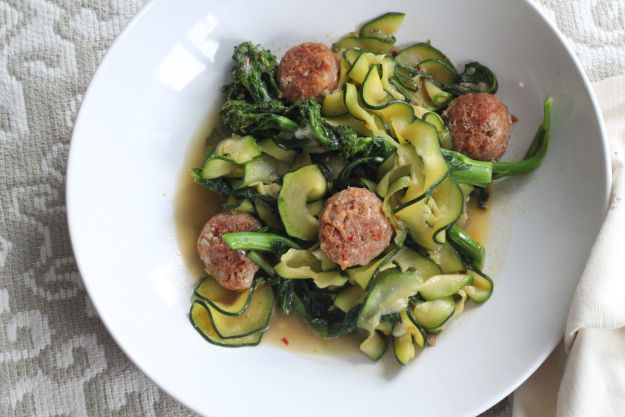 Zucchini pasta with broccoli rabe & spicy italian sausage