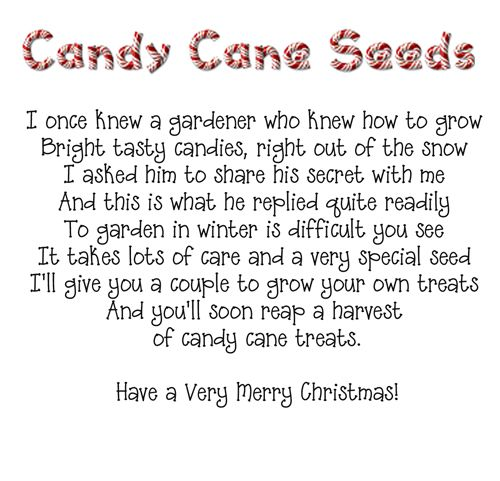 Candy Cane Seeds poem need to change a couple if words since using
