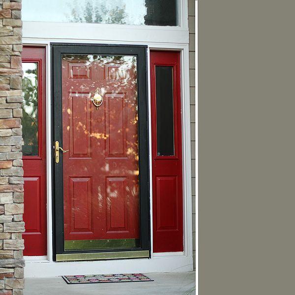 Black storm door with red interior door porches decks for Storm door on front door
