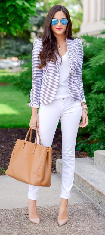 Love the white pants and top with a blazer for casual Weekend at work