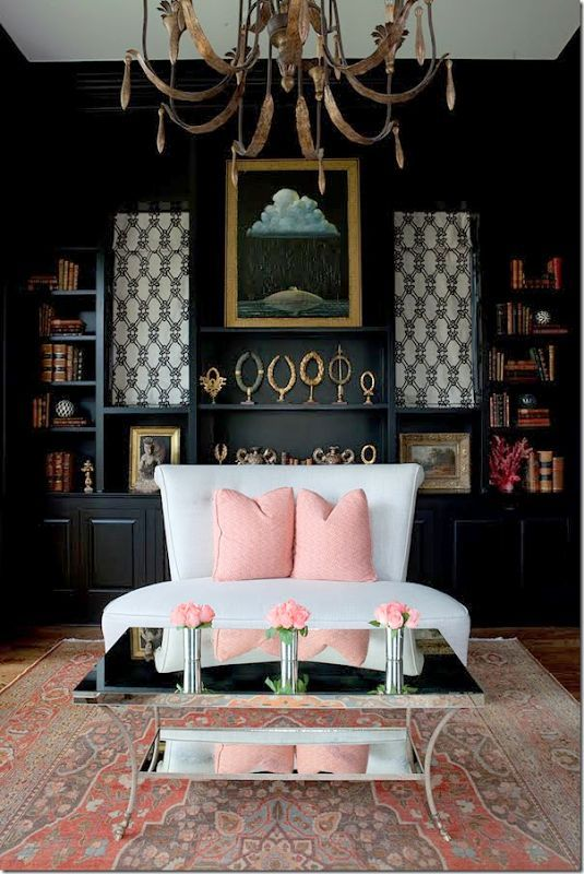 Light Pink And Black Living Rooms Pinterest