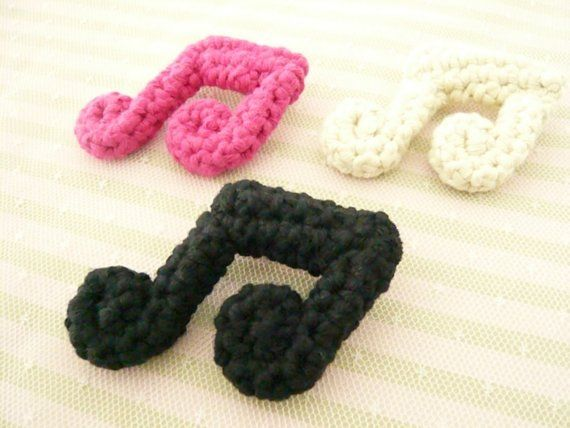 One Crocheted Cotton Music Note Brooch CROCHET KRAZY~Appliques & Em ...