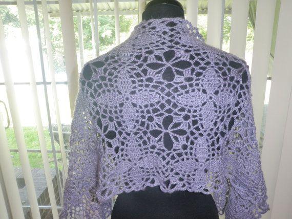 Purple lace flower pattern crochet wrap, scarf, shawl
