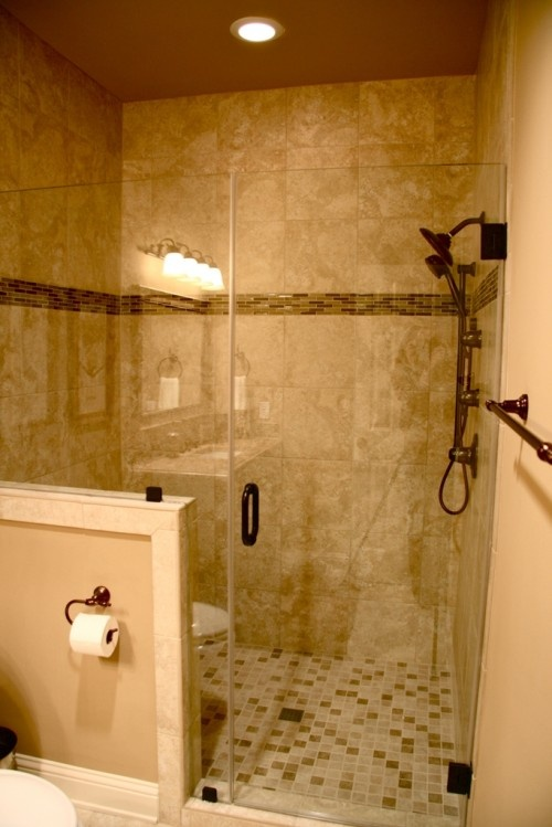 Tile in shower for the home pinterest for Bathroom wall remodel
