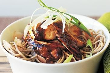 Soy chicken with pickled ginger soba noodles