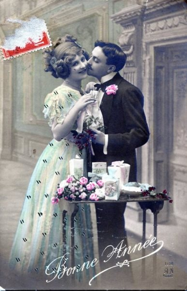 1910s couple, hand tinted postcard