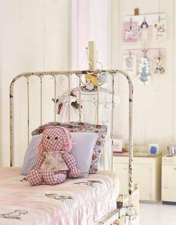 vintage iron bed in child's room