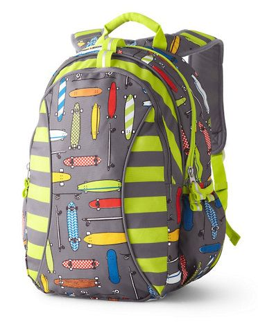 Garnet Hill Kids' clothes are typically quite girly, so you may not think to look there for a backpack for your non-girly girl.  But you don't want to miss this skateboard backpack in bright colors.  Available in two sizes (4+ or 7+).  Matching lunch packs and accessories too.