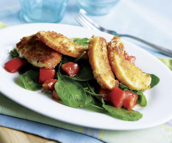 Arugula & Fried Mozzarella Salad with Tomato-Basil Vinaigrette | Reci ...