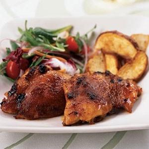 spicy honey-brushed chicken thighs | Yummy Goodness | Pinterest
