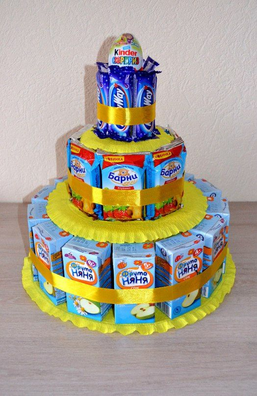 Торт из конфет и сока своими руками пошагово в