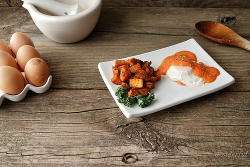 poached egg with roasted red pepper chipotle sauce AND roasted sweet ...