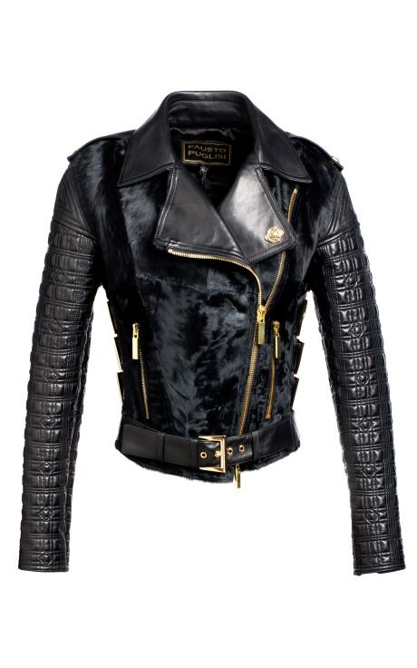Studded Biker Jacket With Xiangao Fur by Fausto Puglisi for Preorder on Moda Operandi