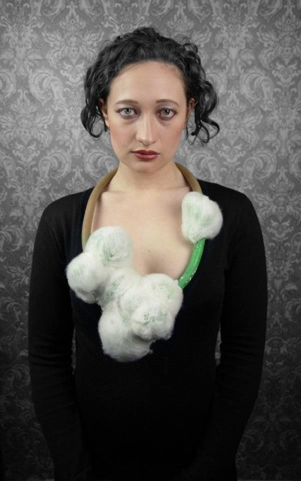 "2012 Necklace's -Tineke Maree Jansen (Auckland) - felted balls- ""My work primarily focuses on form and placement on the body. I enjoy the play on contrasts within my work. By using industrial materials to create an organic flow and femininity of form from a male dominated resource I arouse the curiosities and give my jewellery a touch of playfulness.""   https://www.facebook.com/media/set/?set=a.439971462716830.98238.284122084968436&type=3"