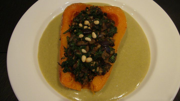 stuffed saffron baked butternut squash with lentil, goat cheese and ...