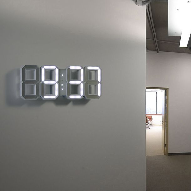 Digital LED Clock White