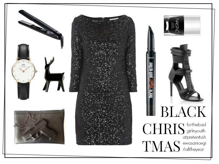 Daniel wellington, black dress, gun clutch