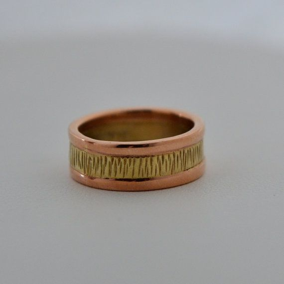 Rose and Wispy Green Gold made in Maine Wedding Band