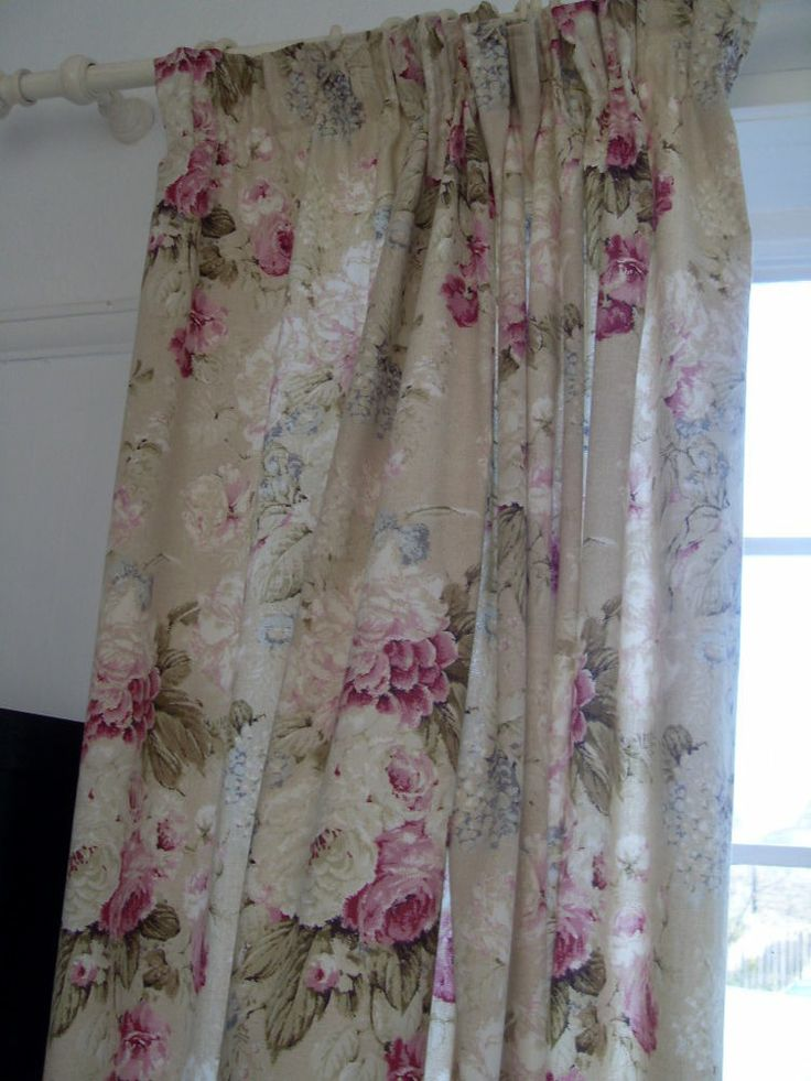 ... Vintage Style Cabbage Rose Lined Curtains 54dx47w inch Shabby Chic
