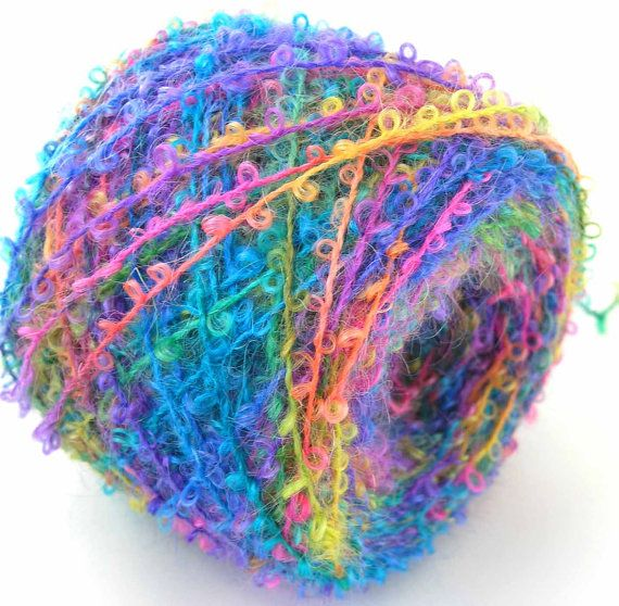 Boucle Yarn : Boucle Yarn Hand Dyed Wool Yarn Rainbow Light by FiberFusion, $15.00