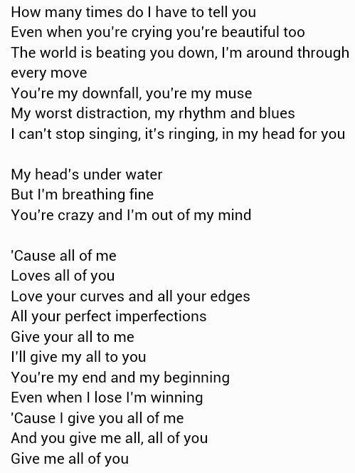 all of me john legend lyrics pinterest