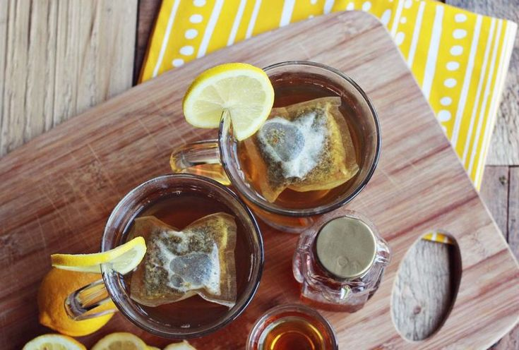 Toddy - I cup tea ( black, herbal or green) 1/2 lemon, 1 tbsp honey ...