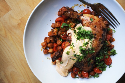Roast Chicken with Garbanzo Beans, Cherry Tomatoes, and Smoked Paprika