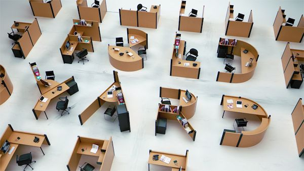 Typography-Inspired Office Concept Where Employees Sit At Alphabet-Shaped Desks - DesignTAXI.com