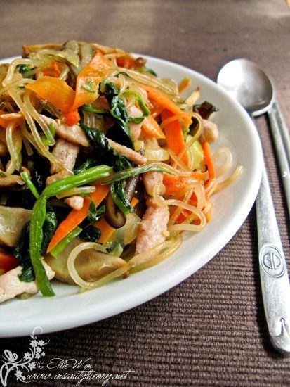 Japchae - Korean sweet potato noodle | Foods I covet | Pinterest