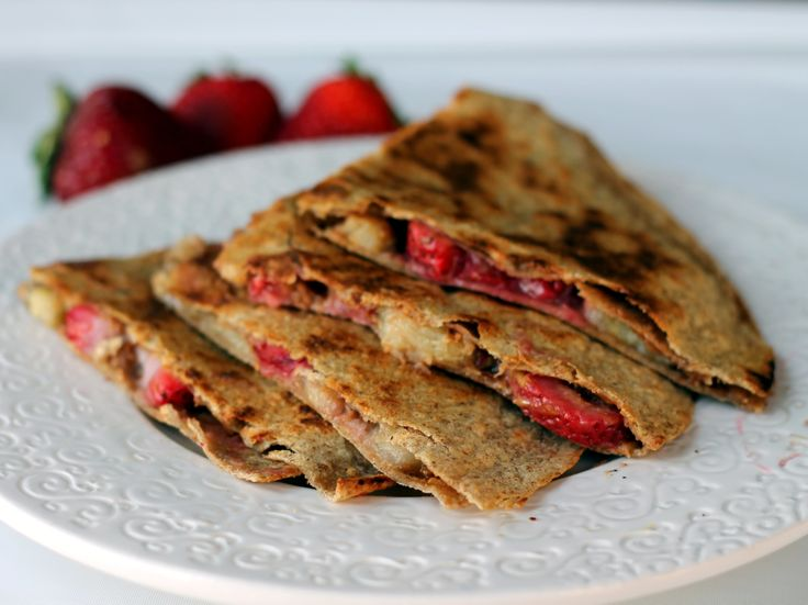 Peanut Butter, Strawberry, and Banana Quesadillas